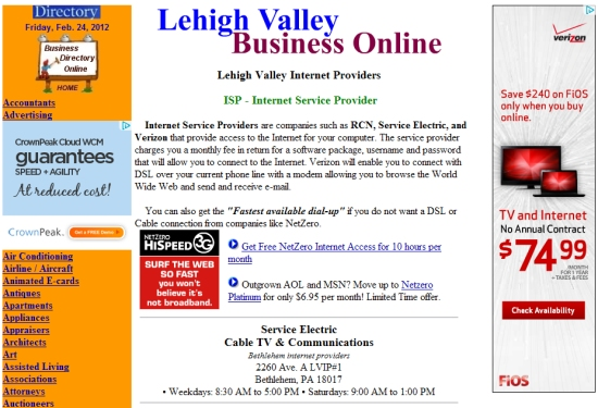 Lehigh Valley Internet service providers
